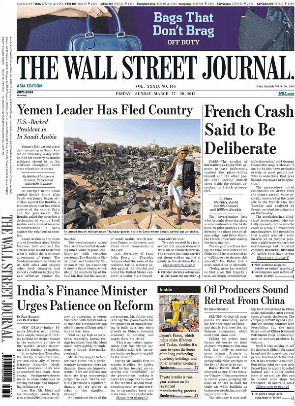 The Wall Street Journal - Friday-Sunday, 27-29 March 2015 / Asia