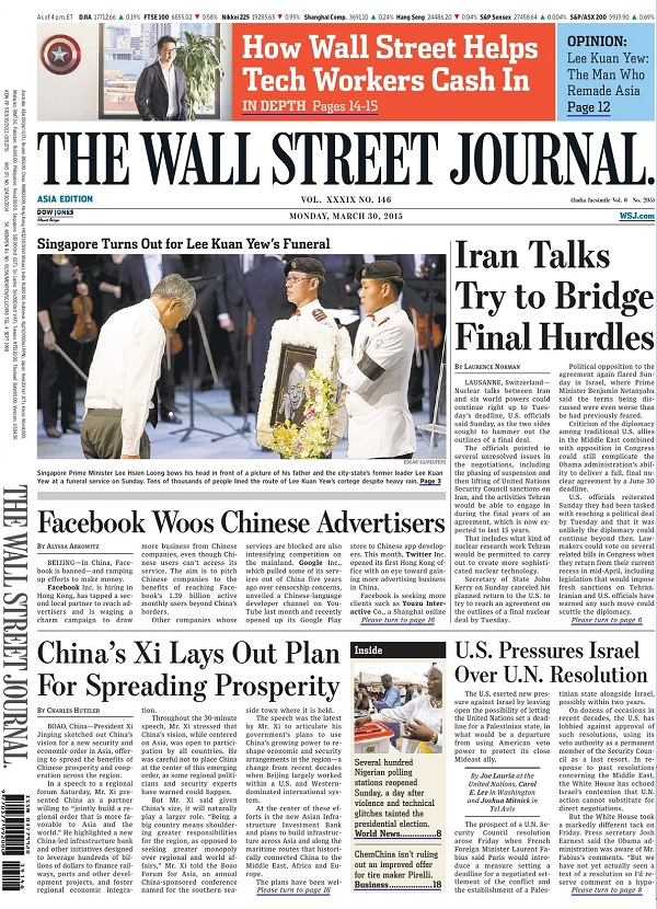 The Wall Street Journal - Monday, 30 March 2015 / Asia