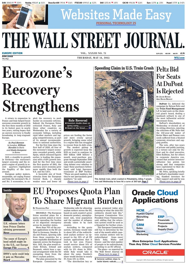 The Wall Street Journal Europe - Thursday, 14 May 2015