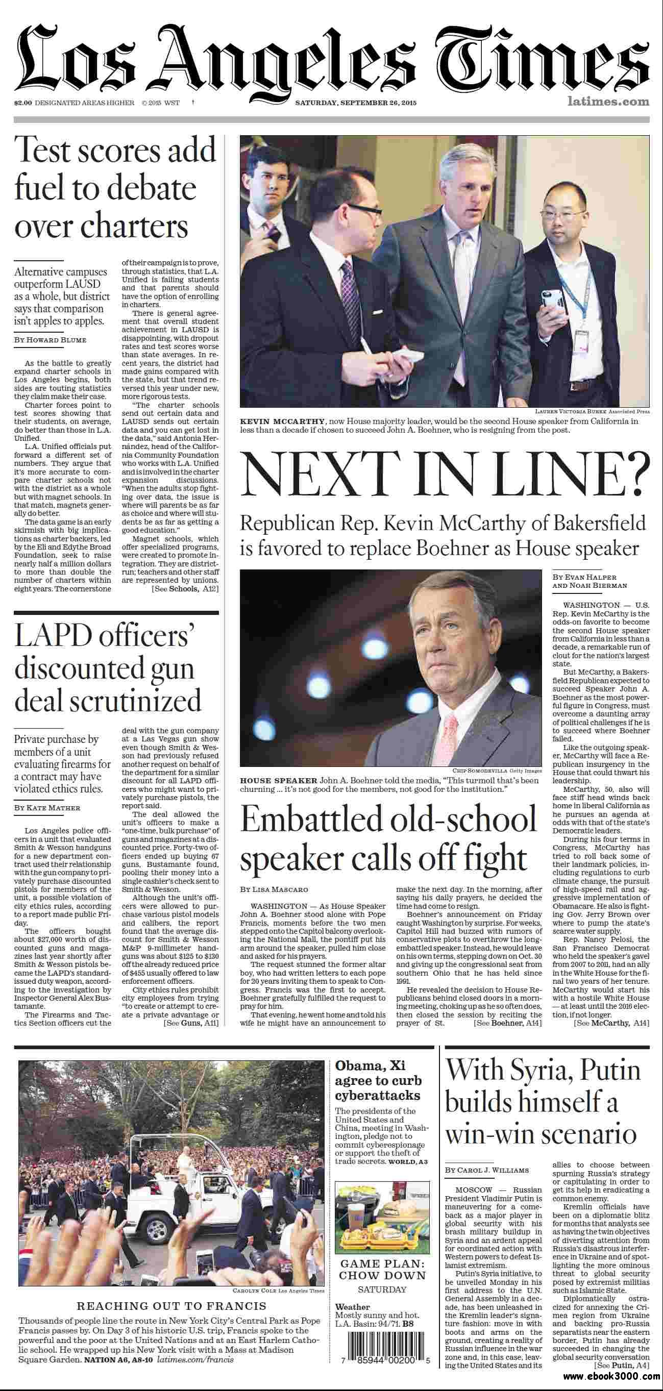 Los Angeles Times September 26, 2015