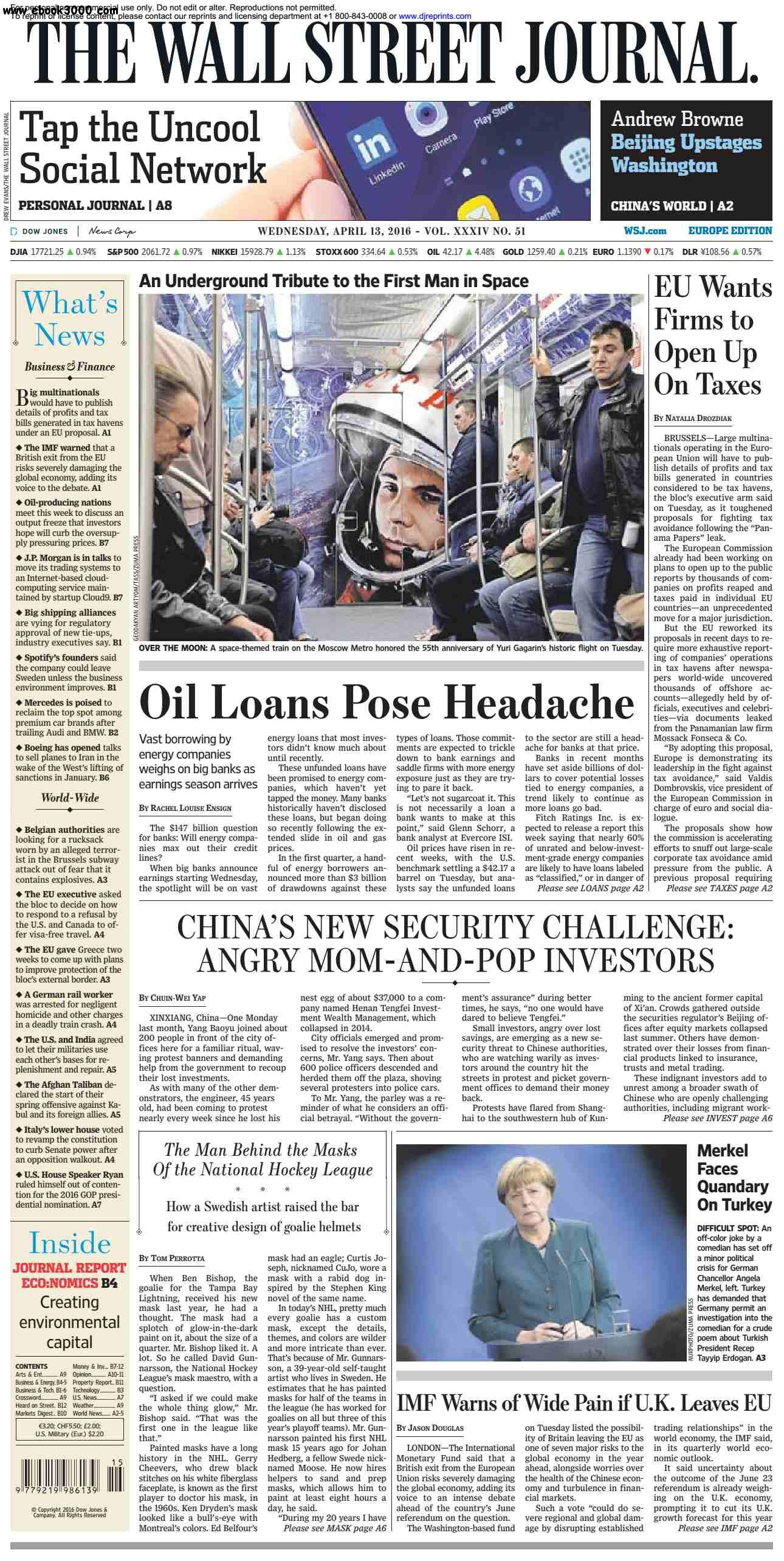 The Wall Street Journal Europe  April 13 2016