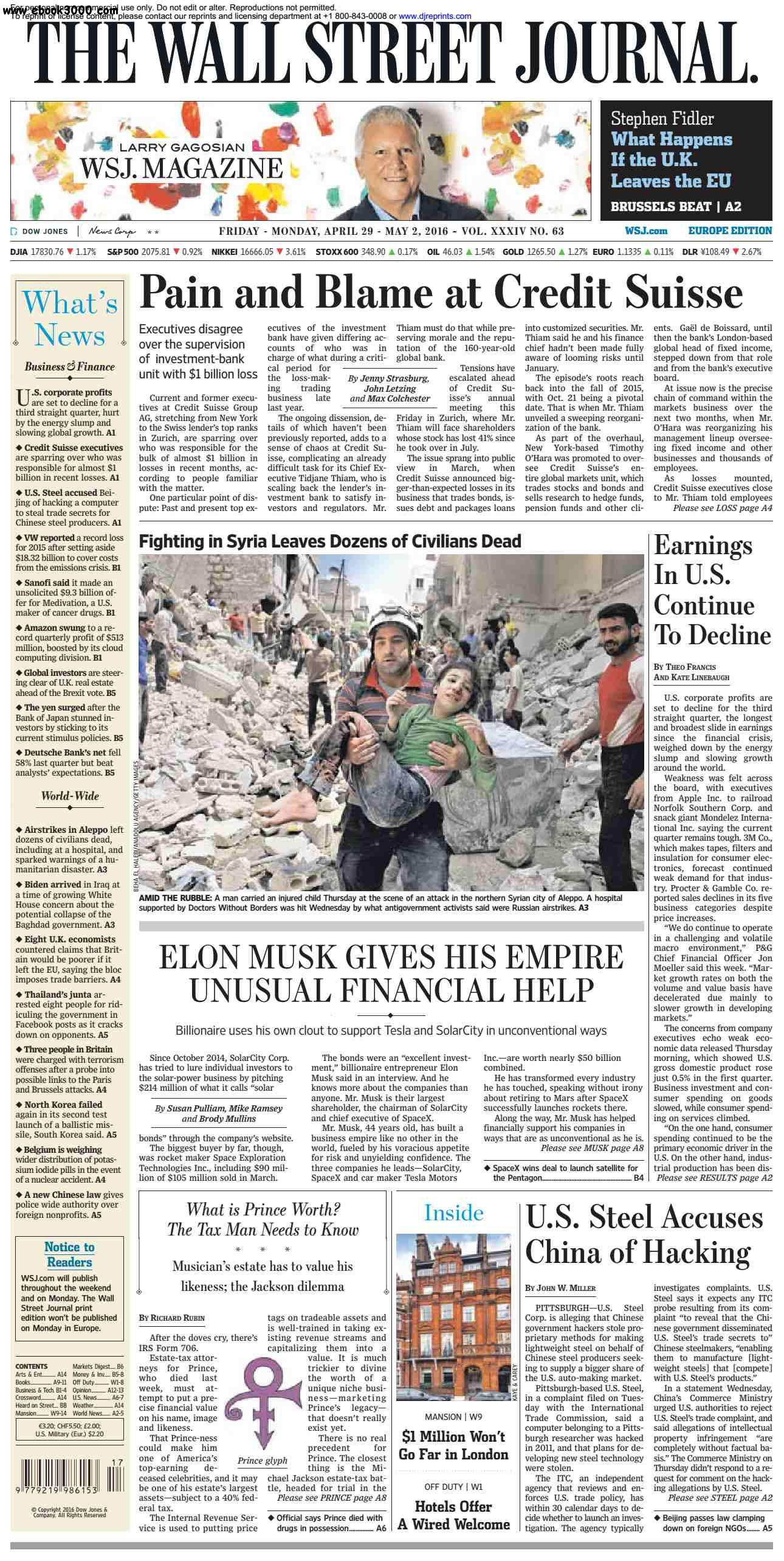 The Wall Street Journal Weekend Europe  April 29 - May 02 2016