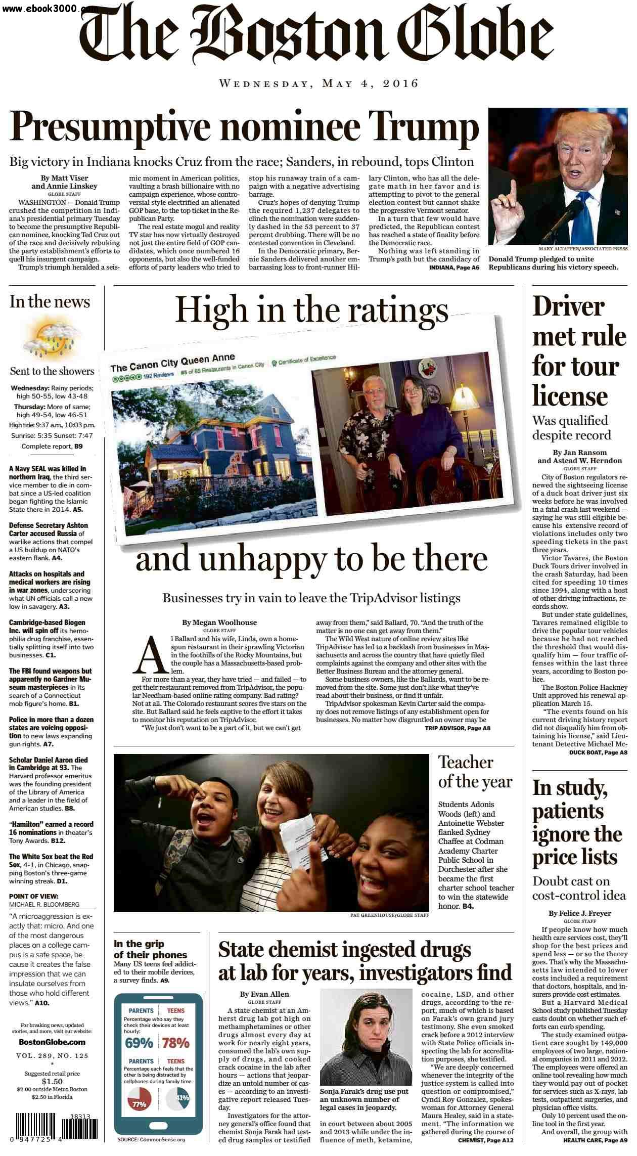 The Boston Globe  May 04 2016