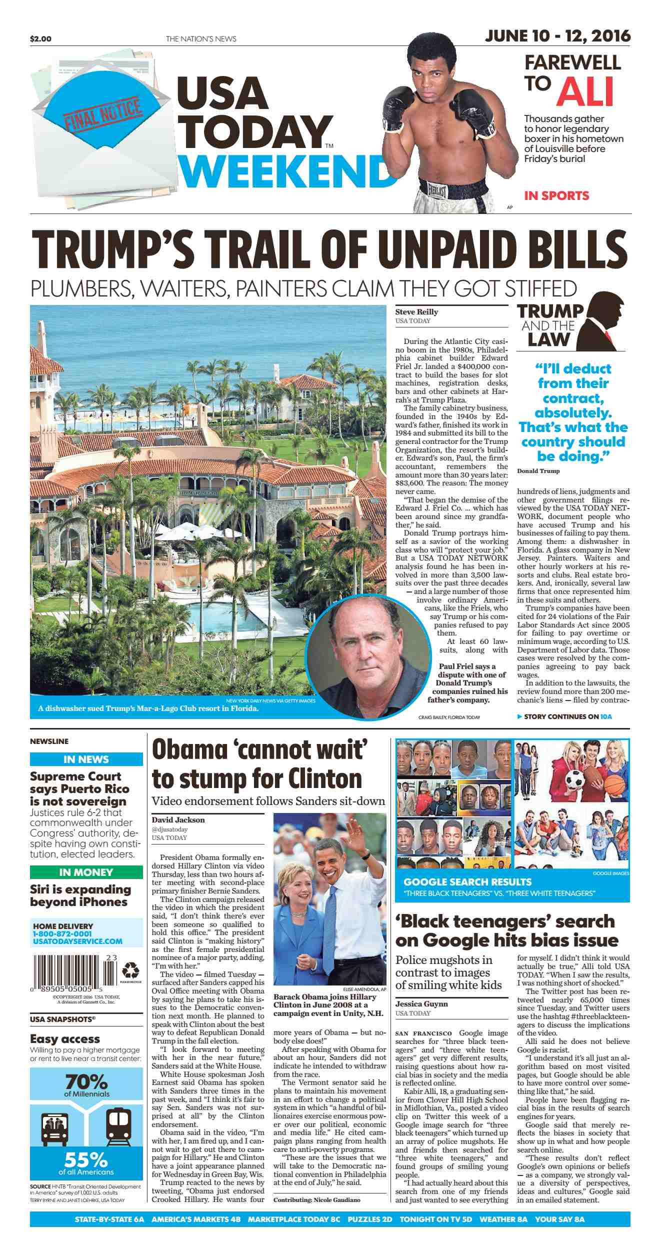 USA Today  June 10 2016
