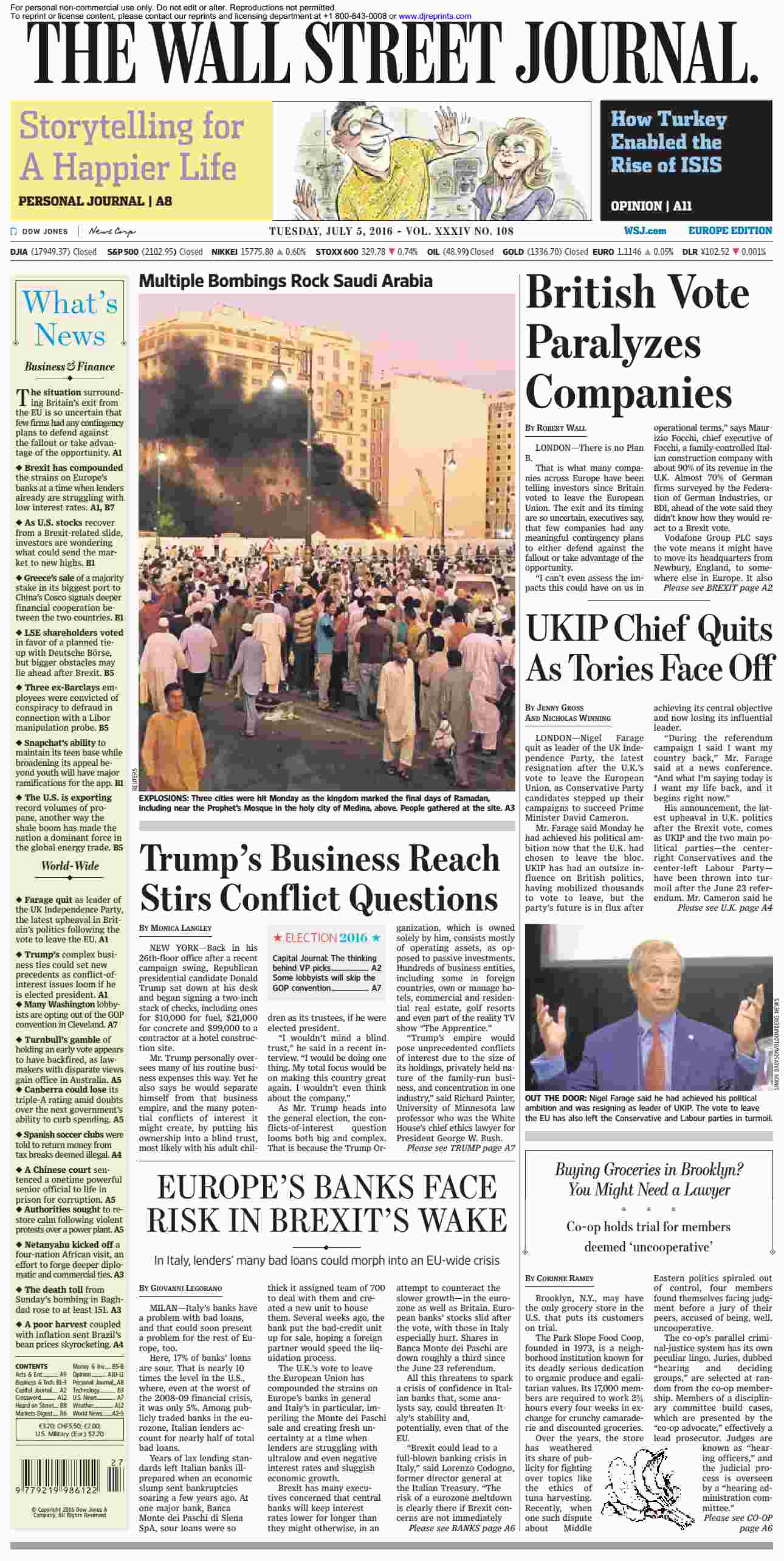 The Wall Street Journal Europe  July 05 2016