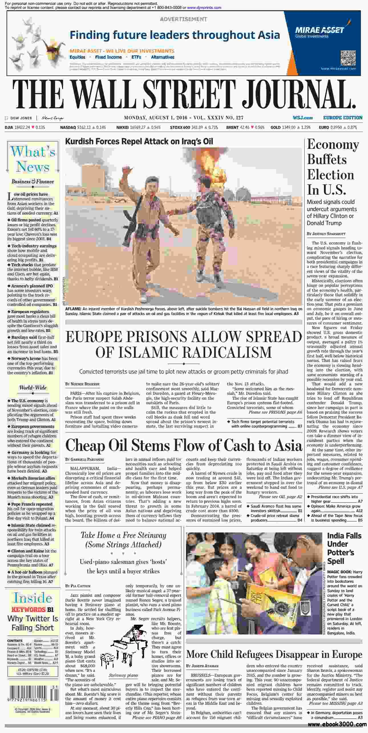 The Wall Street Journal Europe  August 01 2016