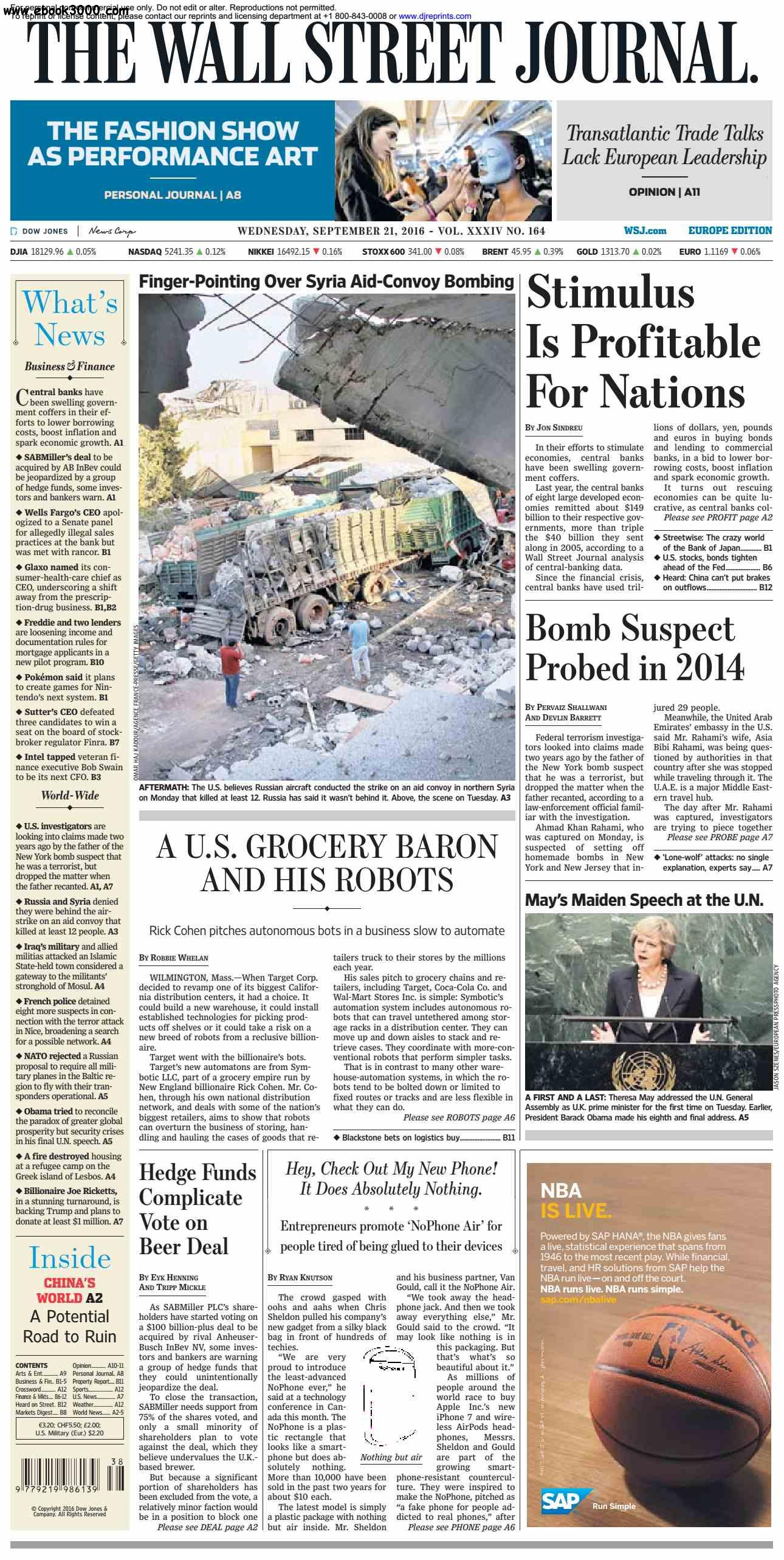 The Wall Street Journal Europe  September 21 2016