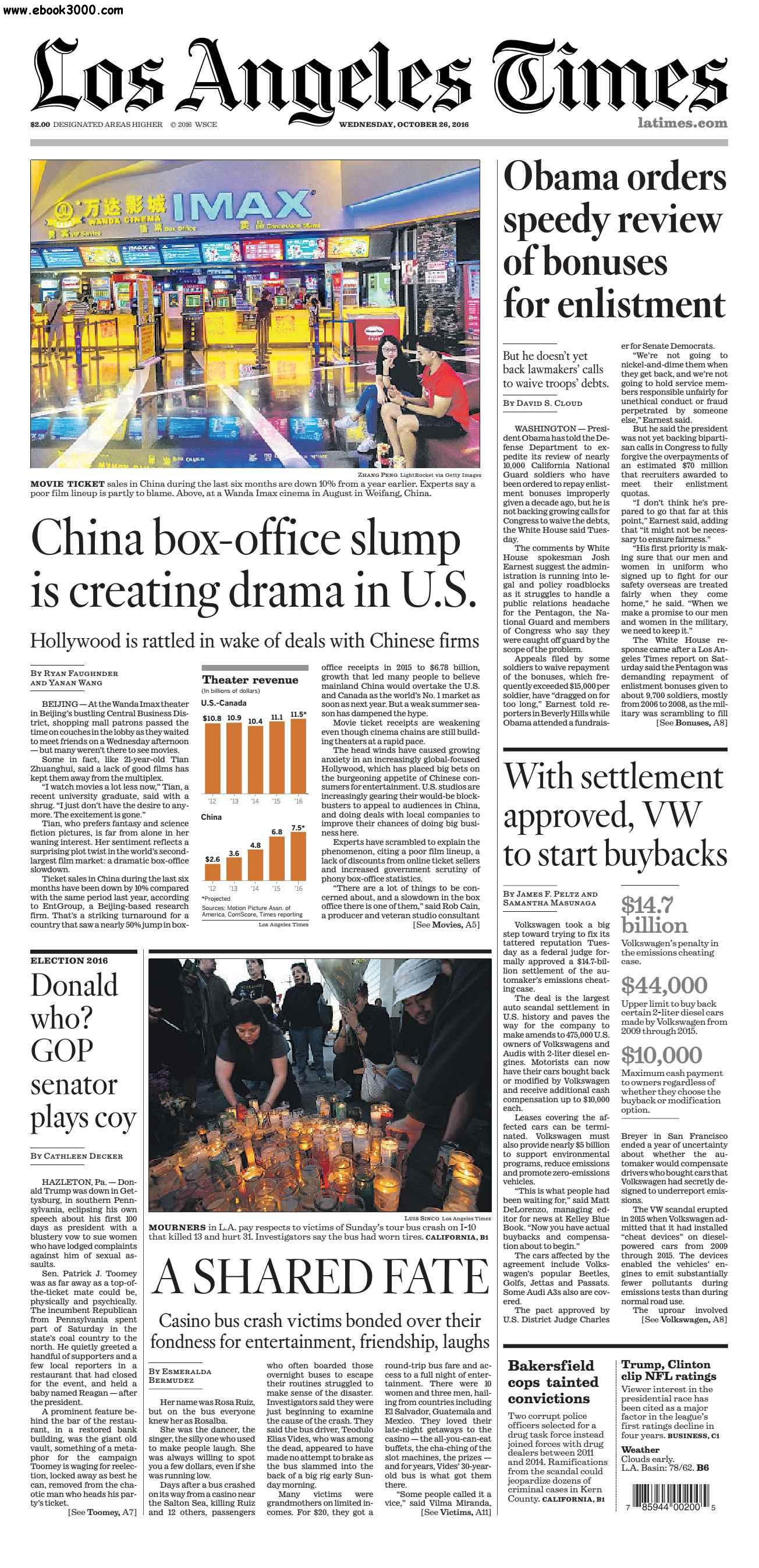 Los Angeles Times  October 26, 2016