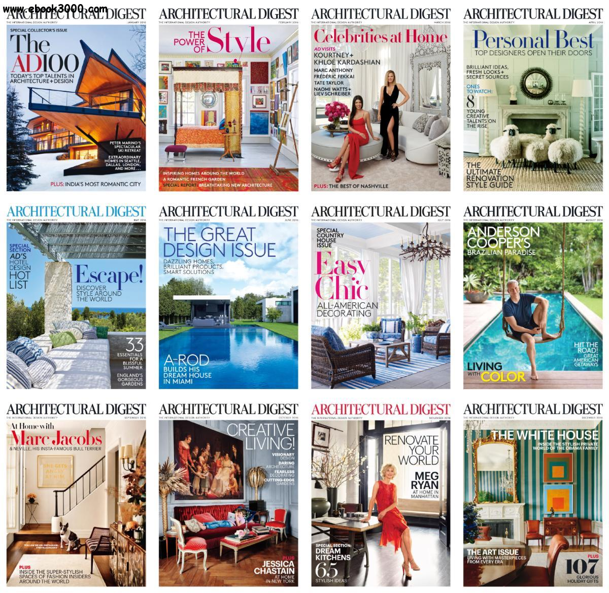 Architectural Digest Usa 2016 Full Year Issues