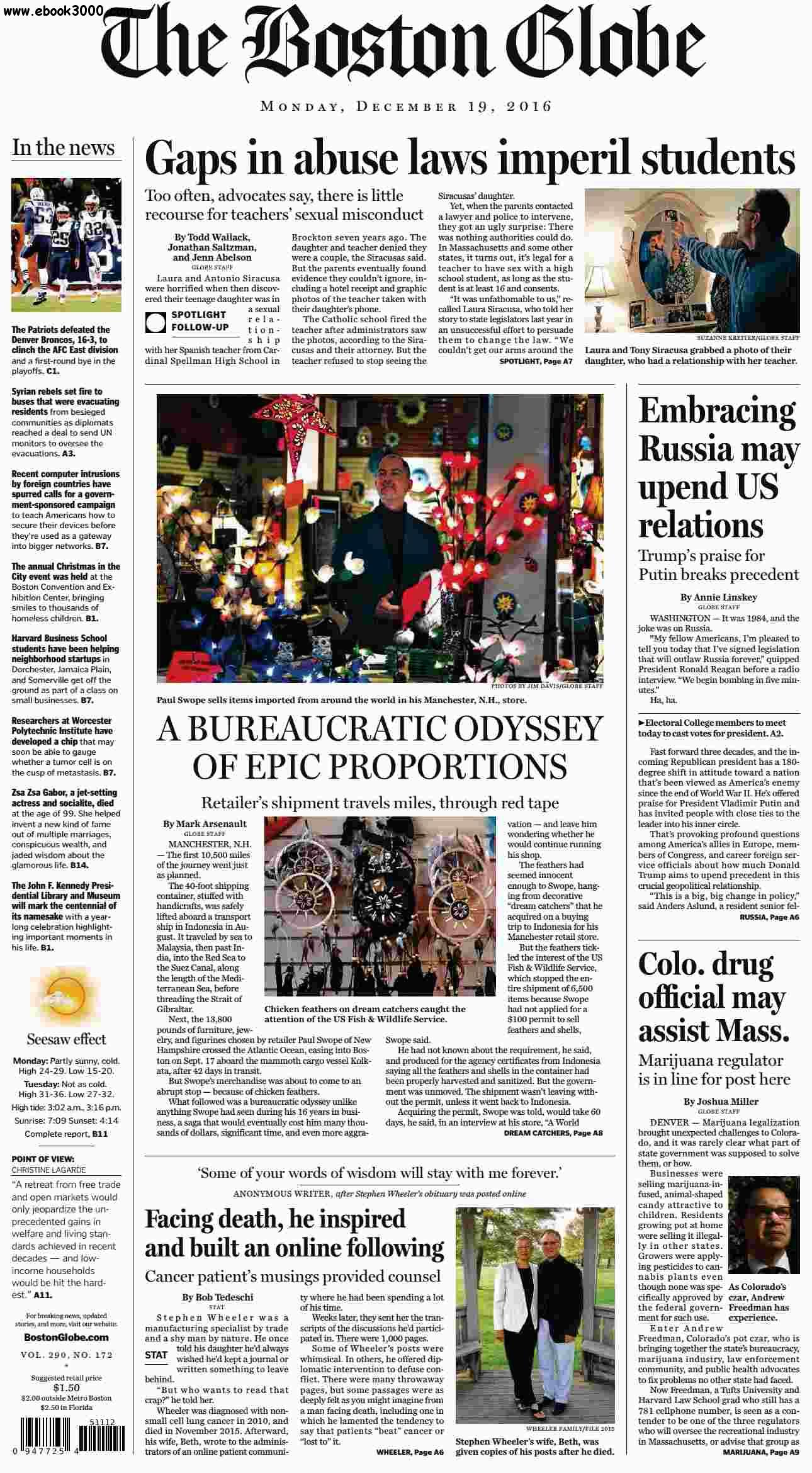 The Boston Globe  December 19 2016