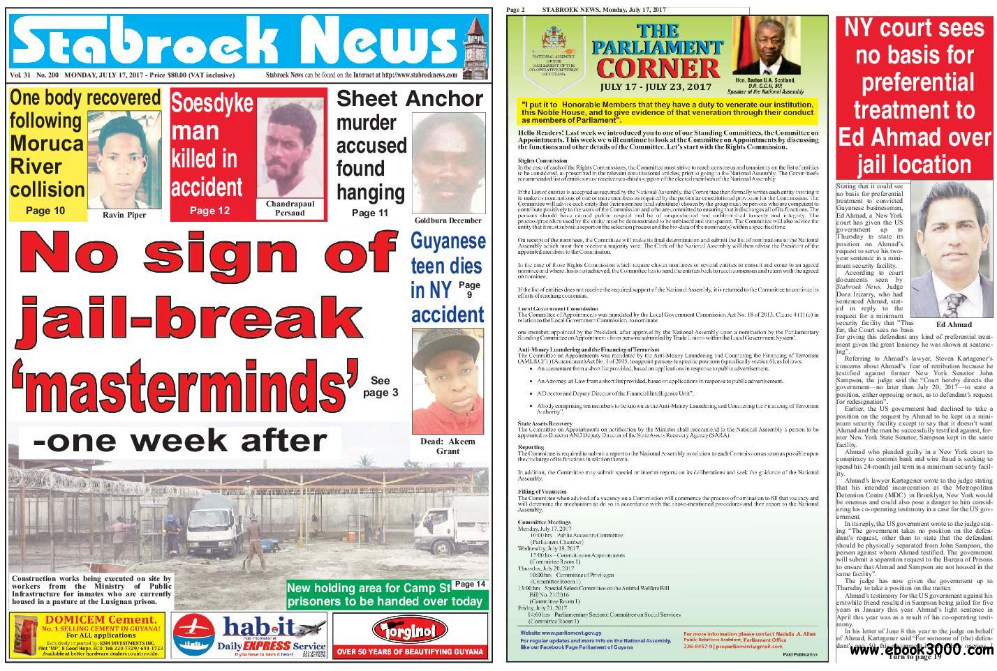 Stabroek News - July 17, 2017