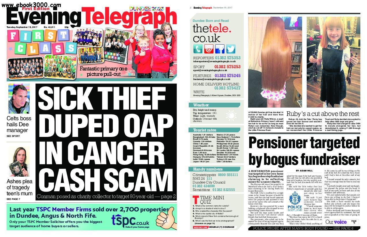 Evening Telegraph First Edition - September 19, 2017